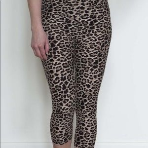 Leopard Black and Tan Capri Leggings